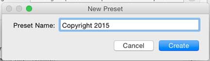 Edit Preset DialogTitle to create a lightroom copyright preset