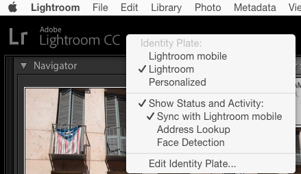 Lightroom CC identity Plate pulldown menu