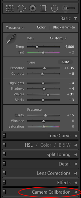 The Camera Calibration Panel in Lightroom