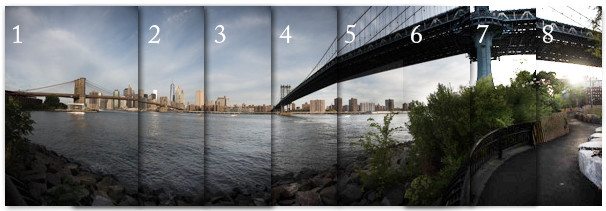 Series of overlapping captures for making a stitched panorama