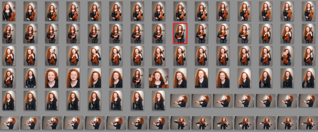 a range of Lightroom photos being edited