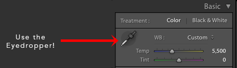 Use the eyedropper in the White Balance section of Lightroom Basic Panel