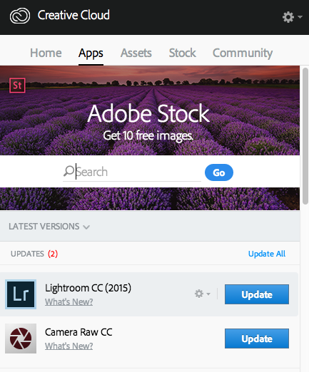Lightroom Update from Adobe Creative Cloud