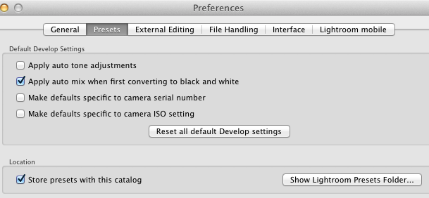 Lightroom Preferences Dialog