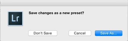 Lightroom Save Changes Metadata Preset to create a lightroom copyright preset