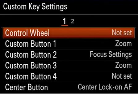 A7 II Custom Key Settings