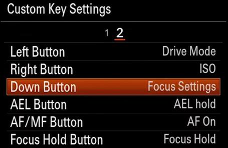 A7 II Down Button
