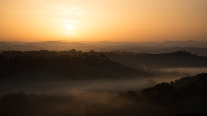 Siena, Italy - Sunrise with mist