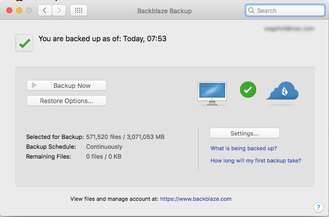 System Preferences panel for Backblaze