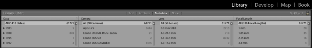 Use the Lightroom Metadata panel to choose a DSLR Lens