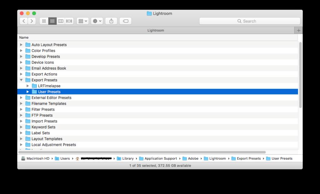 Lightroom Classic CC Export Preset File Location