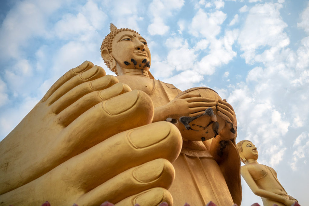 Thailand Photo Tour. Giant Reclining Buddha with two Buddhas