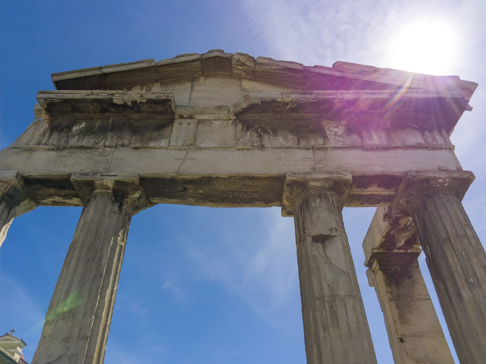Greek Columns with Lens Flare. What's in your camera bag