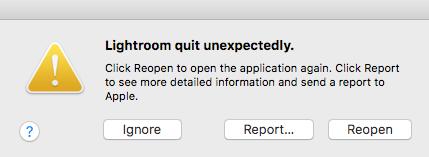 Lightroom Quit Unexpectedly. Lightroom Crashes