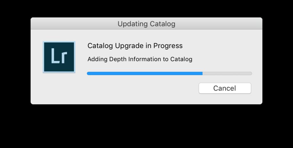 Upgrade Catalog Lightroom 9 - catalog upgrade progress bar