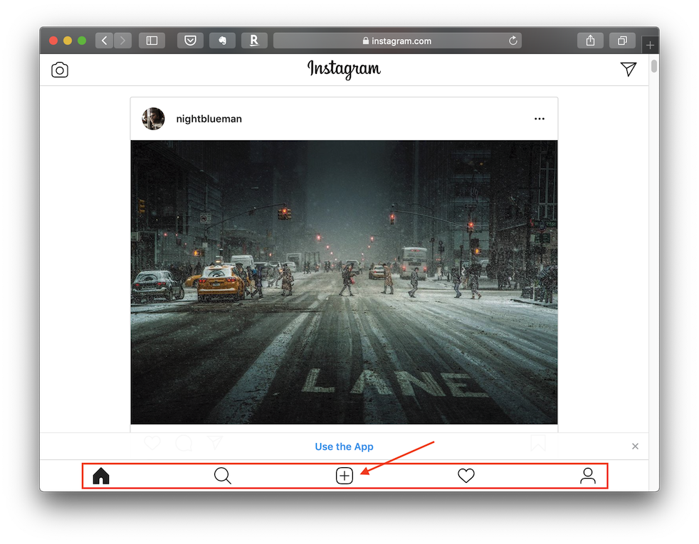 Safari screen with Instagram tools
