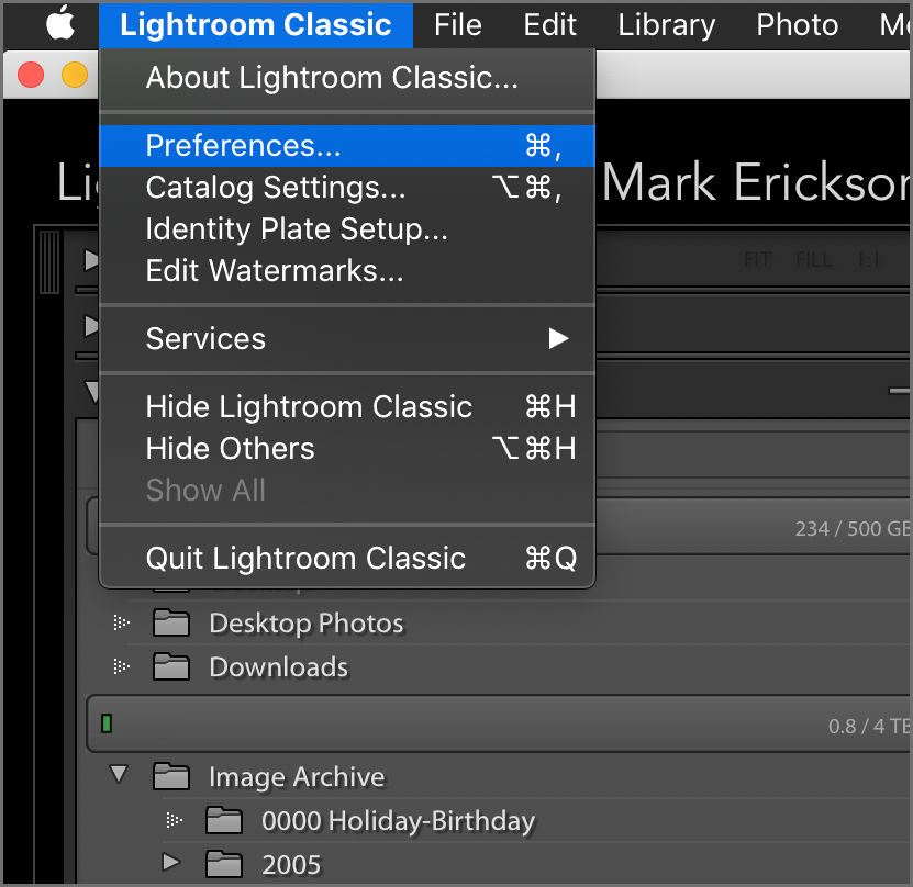 Lightroom Classic Preference Settings for MacOS