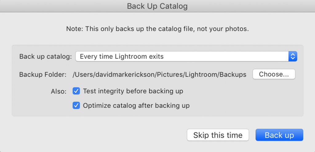 Lightroom Back Up Catalog popup dialog