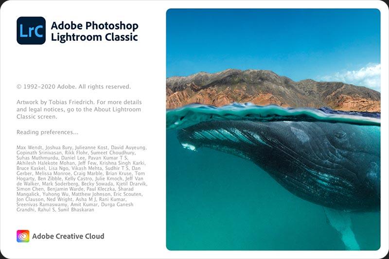 Adobe Lightroom Classic version 9.3 Splash Screen