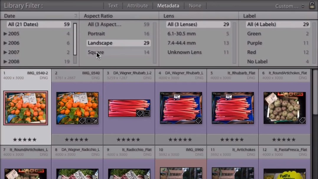 Aspect Ration Search in Lightroom